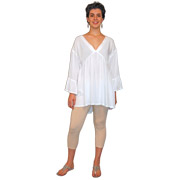 X-Front Tunic with Flounced Sleeves