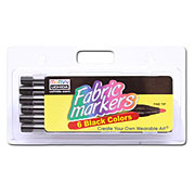 Fine Tip Fabric Markers - Set of 6 - Black