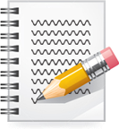 Image of a notebook and pencil