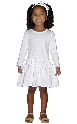 3 Tier Drop Waist Ruffle Dress - Long Sleeve