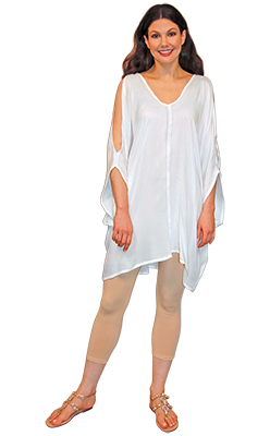 Slashed Sleeve Relaxed Top