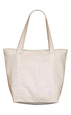 Cotton Duck Tote Bag with Zipper Closure
