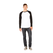 BELLA JERSEY MENS LONG SLEEVE BASEBALL TEE