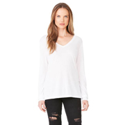 BELLA LADIES FLOWY LONG SLEEVE V-NECK TEE