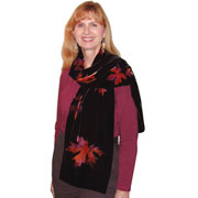 Discharged and Dyed Silk Rayon Velvet Scarf