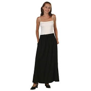 Black Rayon Elastic-Waist Drawstring Skirt