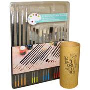 Bamboo Brush Cup w/ Fabric Painting Brush Set