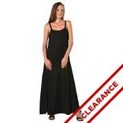 Black Rayon Long Ribbon Strap Dress