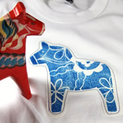 Swedish Dala Horse Block Print - A Lil Blue Boo Tutorial