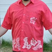 Hand Stamped Hawaiian Shirt