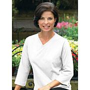 Ladies Jersey V-neck 3/4 Sleeve T-shirt (3/4 Sleeve Feminine Fit Softee V-Neck #34FFSVN)