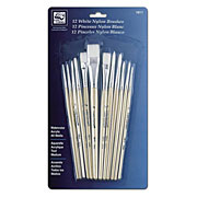 White Nylon Short Handle Brush Set of 12