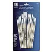 White Nylon Short Handle Brush Set of 12